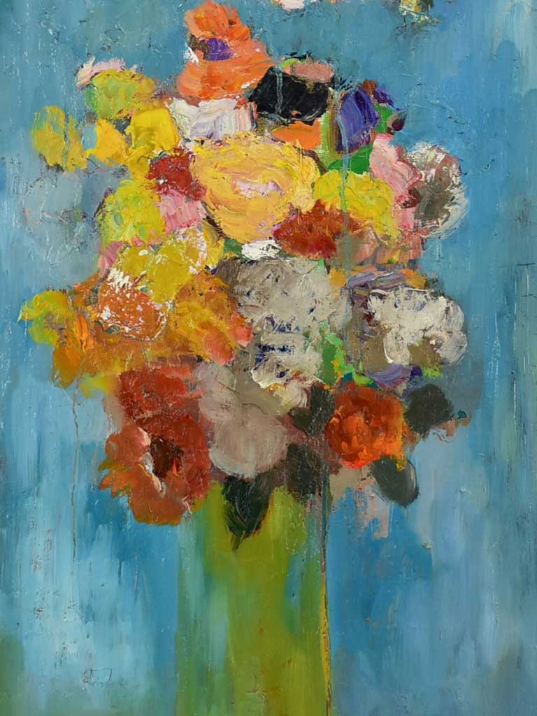 "20th Century oil on canvas - Colorful floral still life - Anna Costa 15¾"" x 31½"""