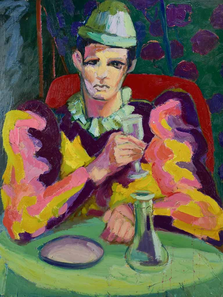 "20th Century oil on canvas - Clown drinking at a table - Anna Costa 28¾"" x 36¼"""