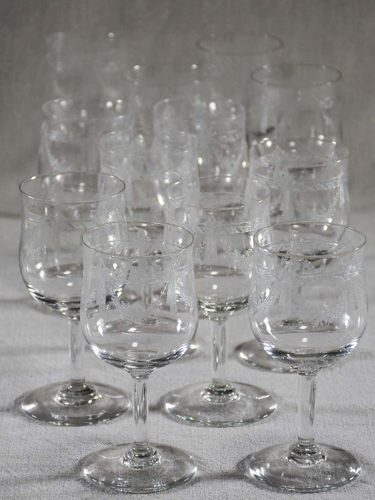 Set of ten antique Louis XVI style wineglasses with pretty garlands
