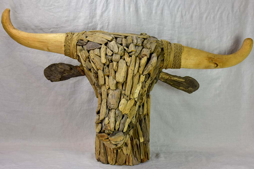 Life-size bull's head made from driftwood