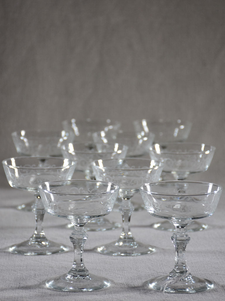 Set of ten acid etched champagne cups from the 1930's