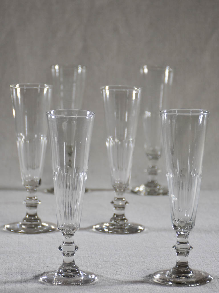 Set of six slender champagne flutes from the 1930's