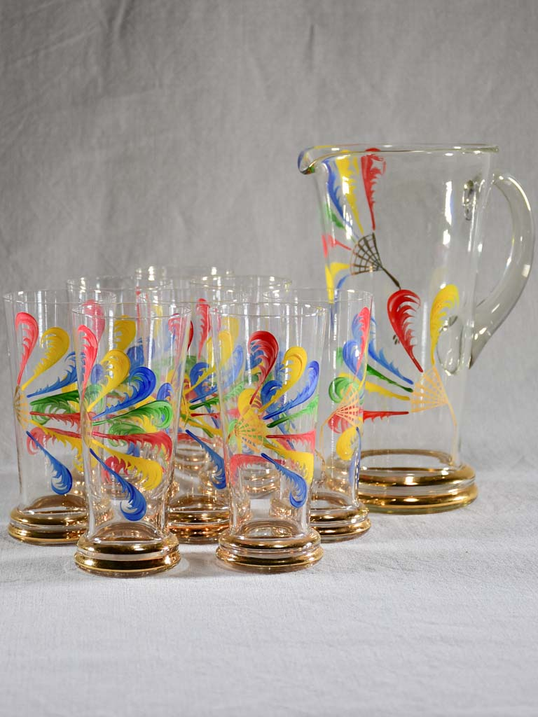 Rare set of eight tumblers with pitcher hand painted with feathers - Monte Carlo