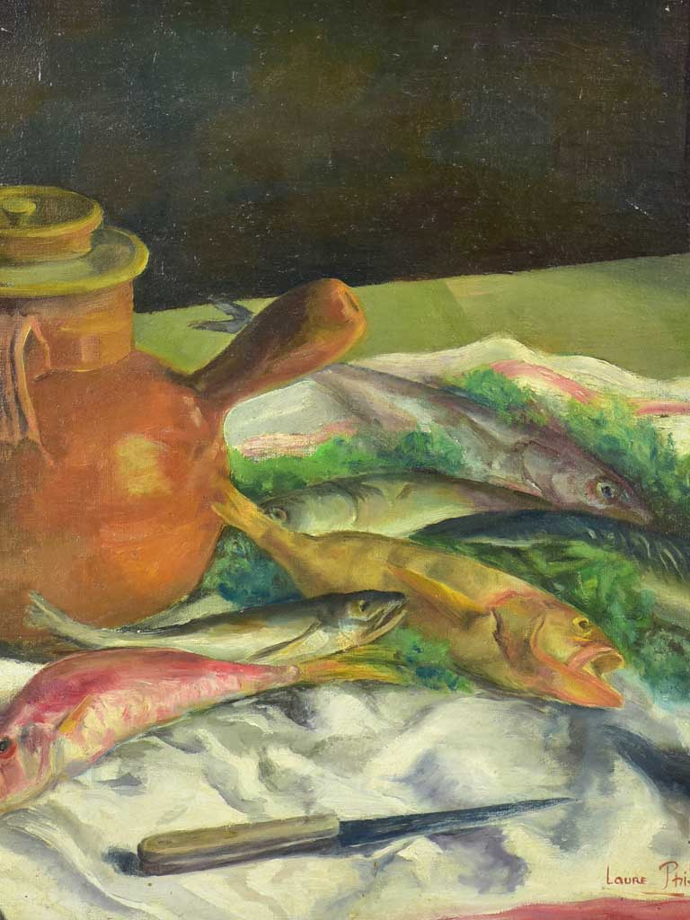 "20th century still life - Fish on a teatowel - Laure Philip 21¼"" x 25½"""