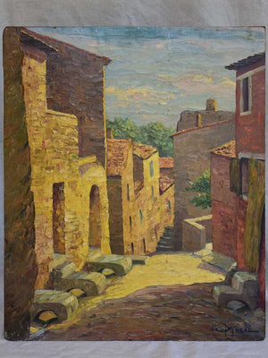 Vintage painting of a French village