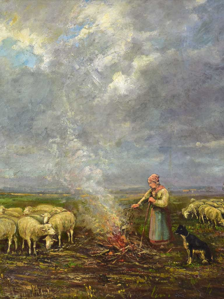 "Shepherdess and her flock Bergère et son troupeau - Aymar Pezant (1846-1916)  24"" x 28"""