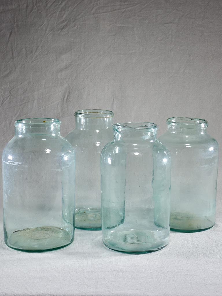 Collection of four large antique French preserving jars 13½""