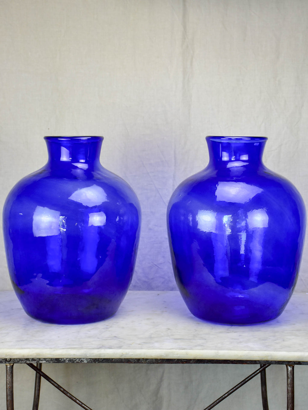 Pair of very large cobalt blue glass vases