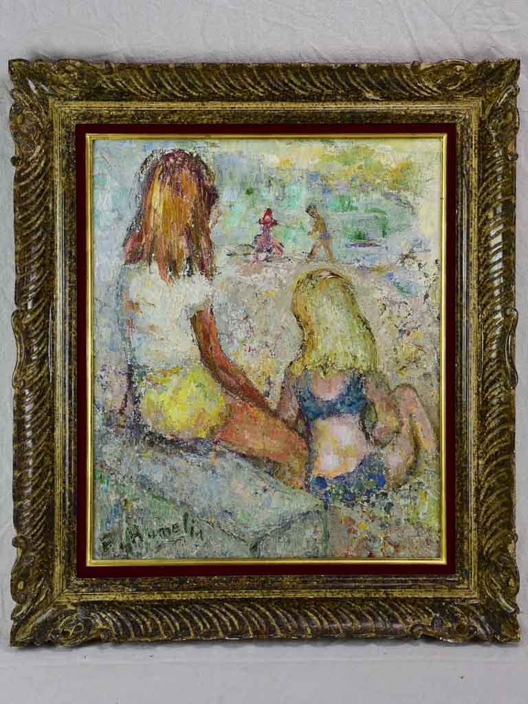 "Vintage oil on canvas - two children at the beach - F. Hamelin 28¾"" x 25¼"""