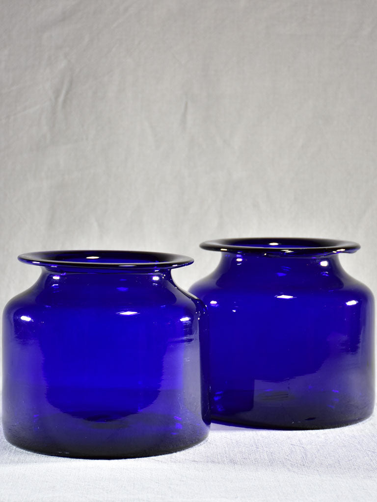 Pair of late 19th Century apothecary jars - cobalt blue 8""