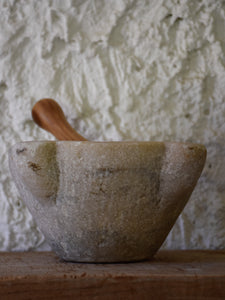 19th century marble mortar and olive wood pestle