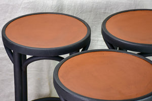 Three bentwood Baumann / Thonet barstools - black and brown