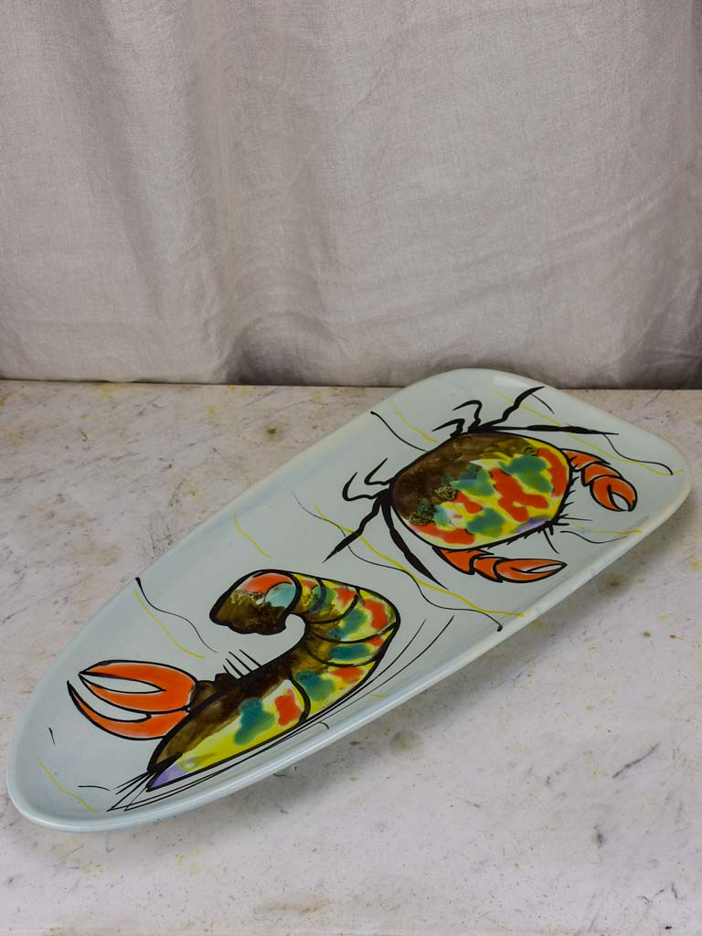 Mid century French handpainted seafood platter with crab and prawn