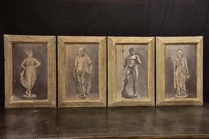 Four framed artworks - statues