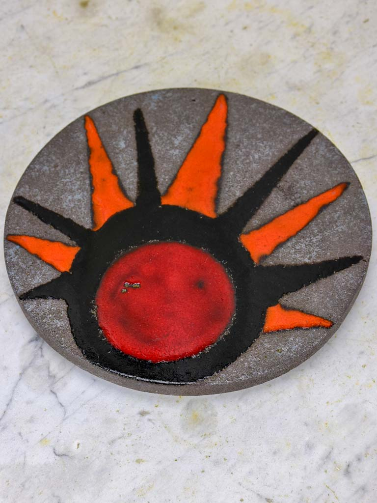1970's fire clay trivet signed Michel Clement