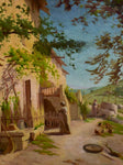 "19th Century Scene of a village in Provence - oil on canvas - anonymous 32¼"" x 37¾"""