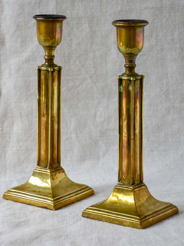 Pair of late 19th Century brass candlesticks 8¼""