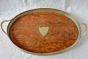 "Antique English silver plate and oak based gallery tray 15¾"" x 25¼"""