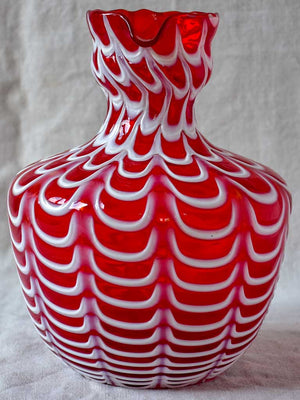 Vintage red and white Bohemian glass vase
