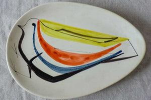 Triangular bird plate signed Roger Capron, Vallauris 1950's 12¼ x 8¾""""