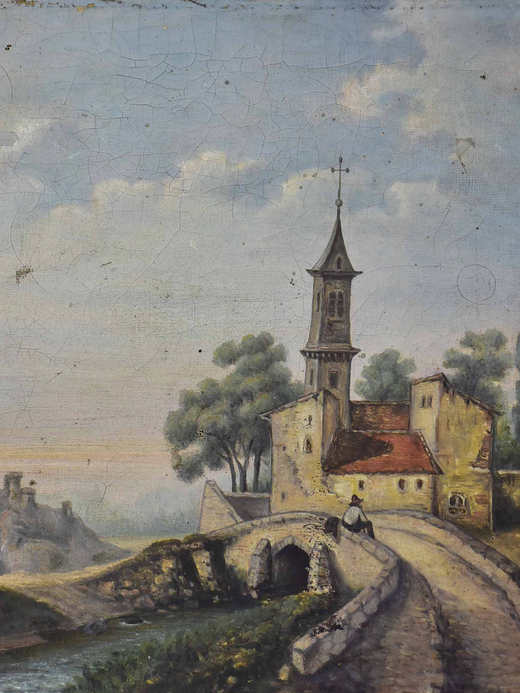 Small antique French painting of a Church and bridge 12 ½'' x 9 ¾''