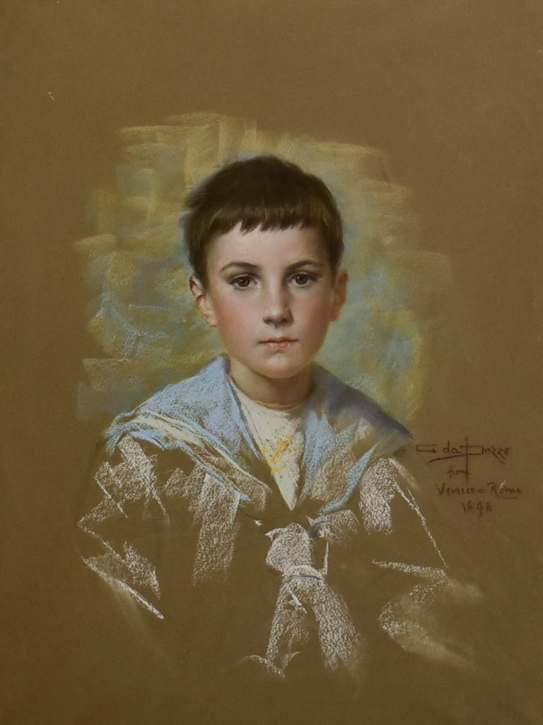 Preparatory portrait of an English boy in Venice - Giuseppe Da Pozzo, (1844–1919) 31½ x 38½""""