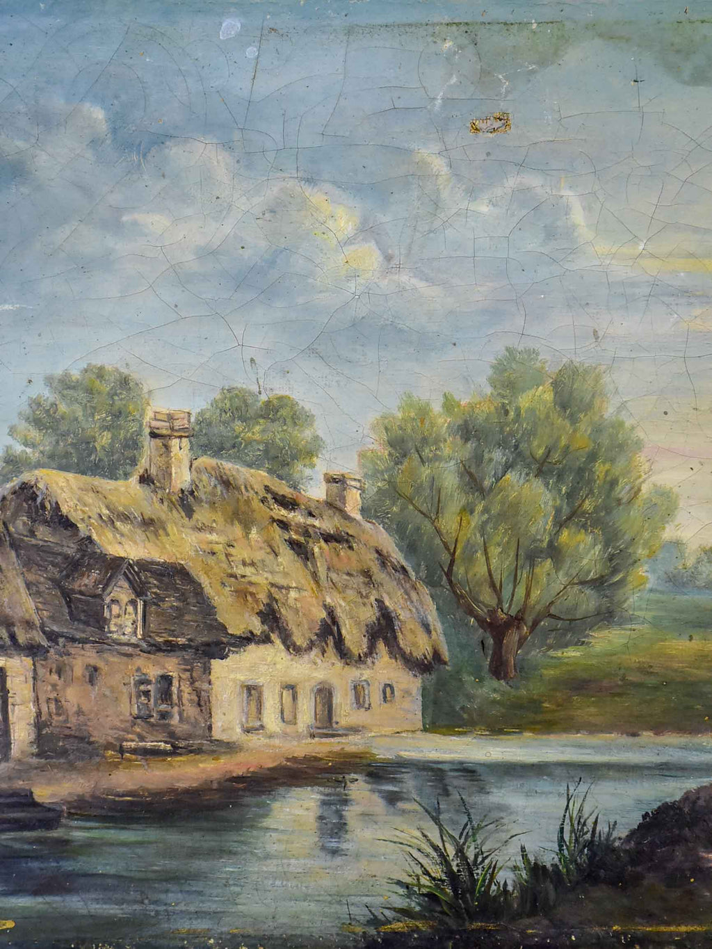 "Antique French painting of a farmhouse on a river 13"" x 9 ¾''"
