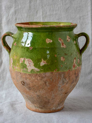 Antique French confit pot with green glaze 10¼""