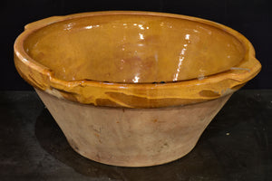 Antique French preserving bowl with yellow glaze