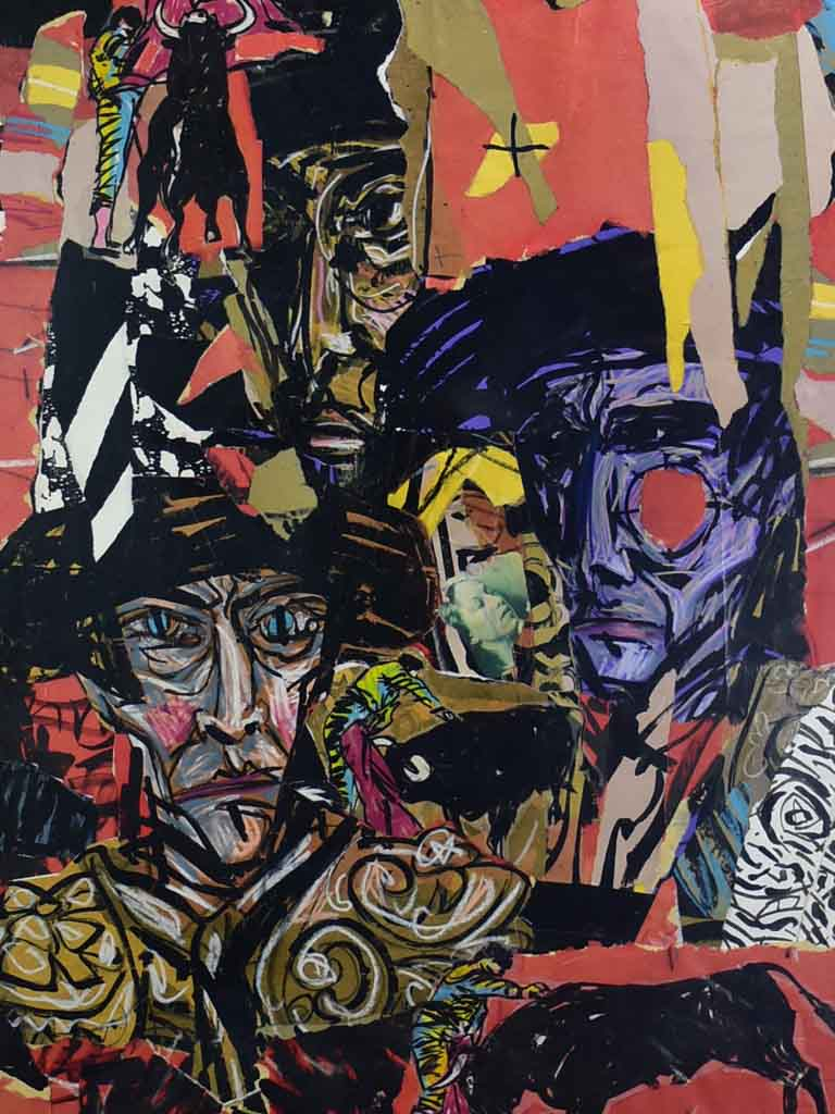 "Modern collage portrait - Michel Calandre (1944 - ) 39½"" x 51½"""