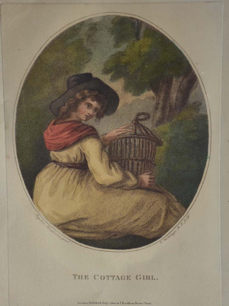 "The Cottage Girl - original engraving by Angelica Kauffmann 18½"" x 22¾"""