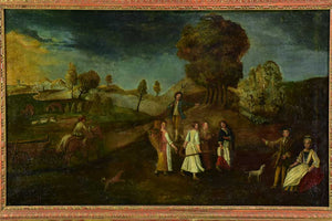 "18th Century French oil on canvas - animated landscape - anonymous 35"" x 52"""