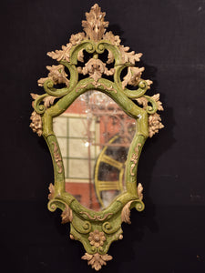 Pair of rustic Italian mirrors with green and gold frames
