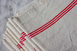 Set of 7 antique French linen tea towels with red stripes
