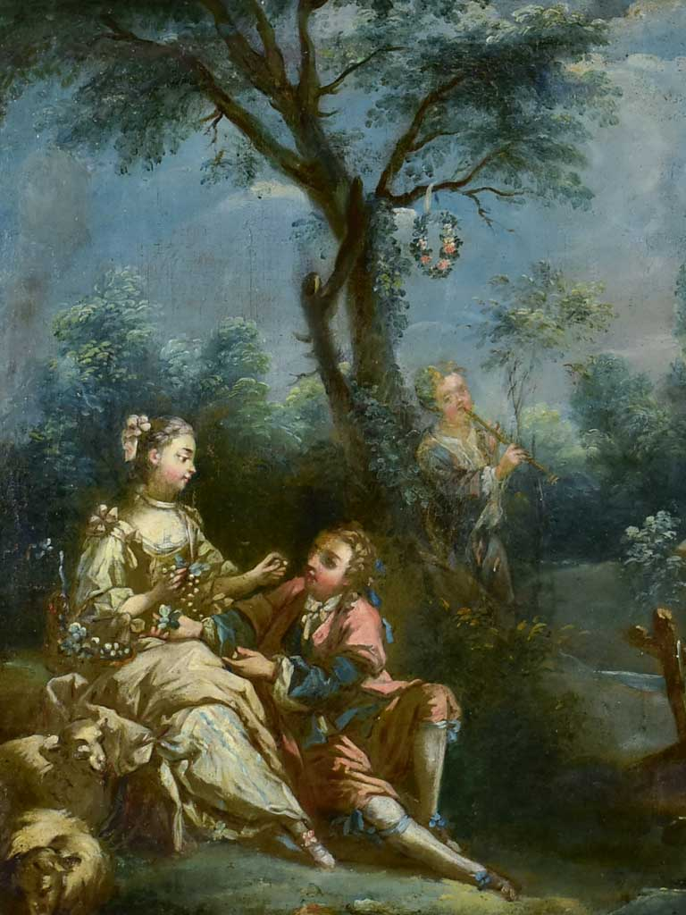 "18th Century Louis XVI Romantic oil on canvas from a trumeau mirror - anonymous 28¼"" x 31"""