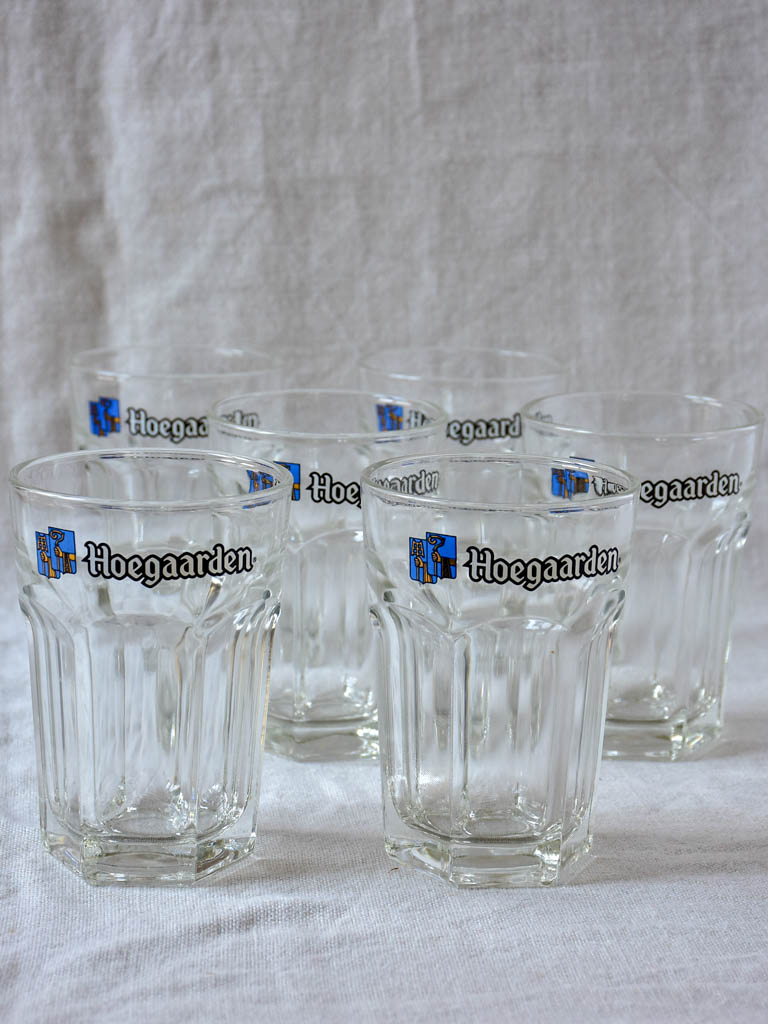 Six Hoegaarden vintage beer glasses