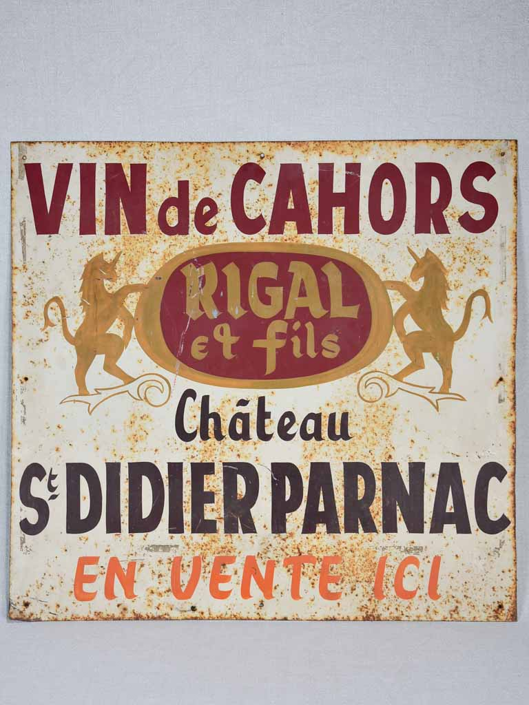 "1970's hand painted sign - Vin de Cahors 26½"" x 28"""