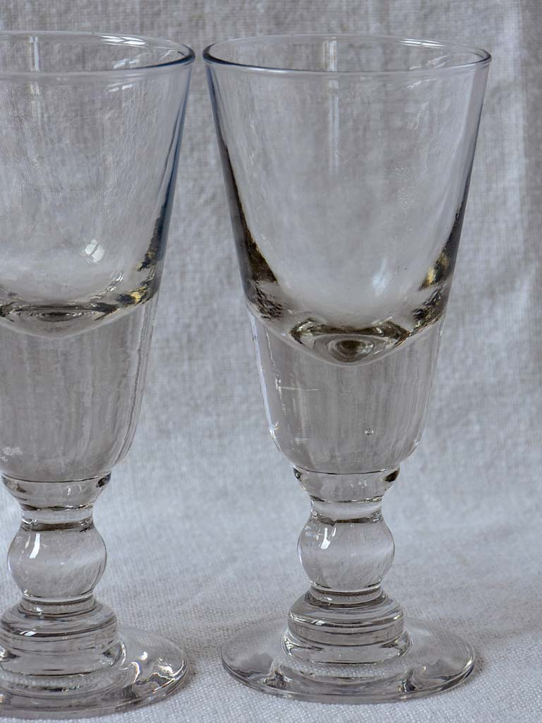 Four late 19th Century French absinthe glasses