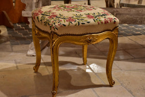 Antique Louis XV style stool - gilded