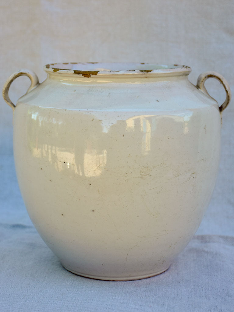 Early 20th century French preserving pot with white glaze 9""