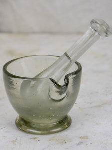 Miniature pharmacy blown glass mortar and pestle