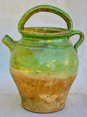 Antique French water pitcher with pale green glaze