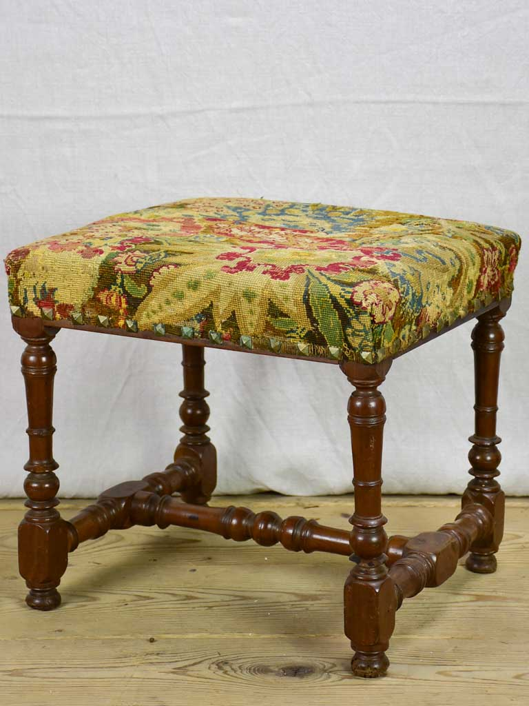 18th Century French stool with original cross-stitch upholstery