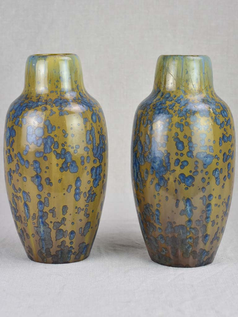 Pair of French Pierrefonds sandstone vases - 1930's. 12¼""