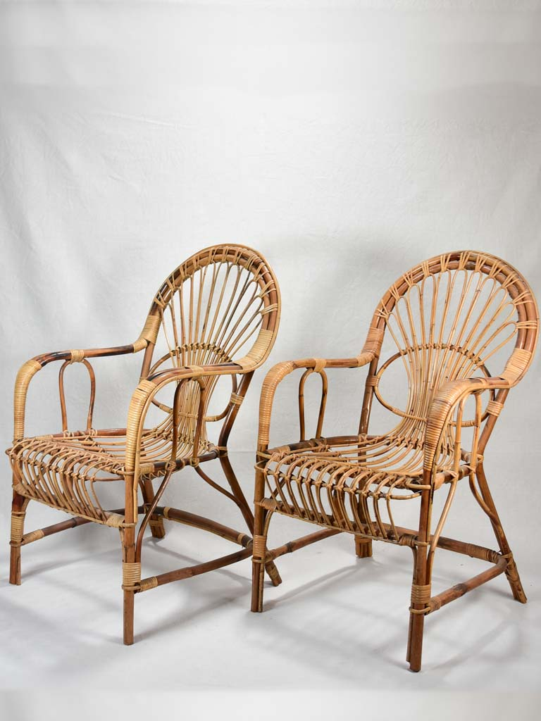 Pair of winter garden rattan armchairs - 1960's
