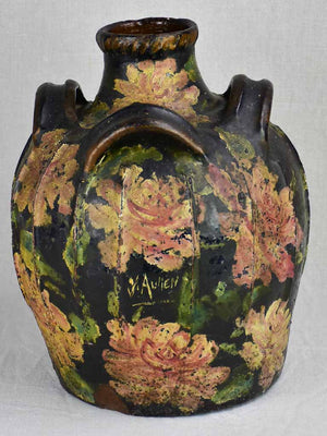 18th Century French water cruche with Napoleon III floral décor 15""