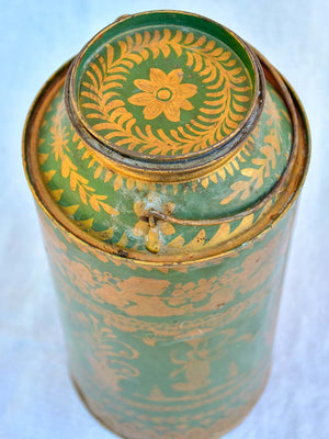 19th Century French tea tin - green and gold 13""