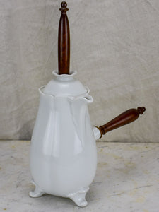 Antique French porcelain hot chocolate jug with stirrer