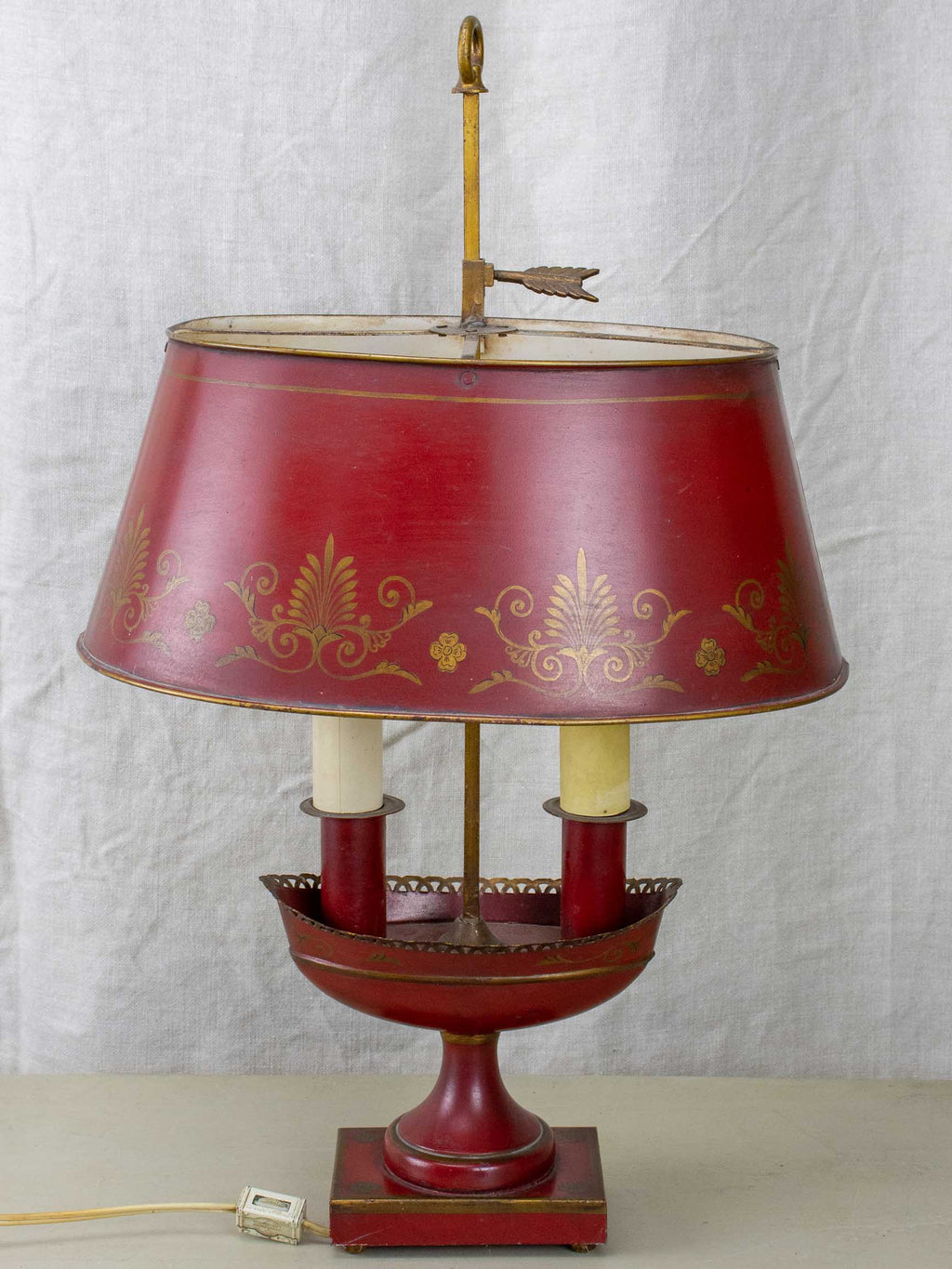 Mid-century English tole bouillotte lamp