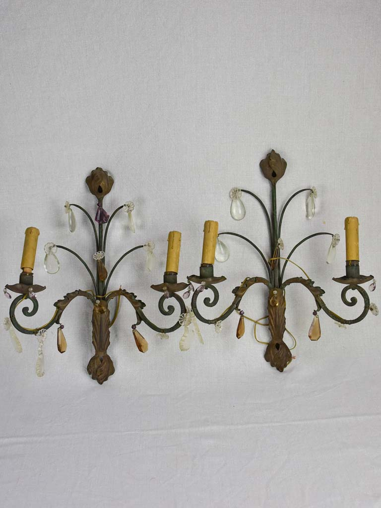 Pair of 1930's crystal and tole wall sconces 17¼""